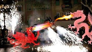Fireworks with the Devils and the Dragon in Barcelona.