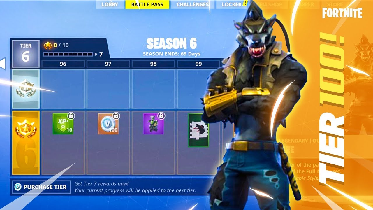 All Season 6 Battle Pass Rewards Max Level Tier 100 Youtube