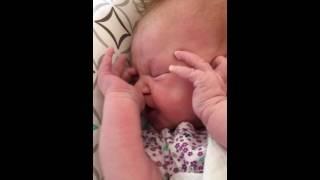 Jade sucking her thumb @5 weeks old