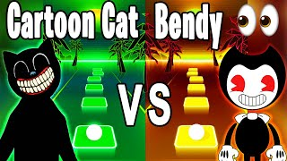 Cartoon Cat Run Away Song VS Bendy and the Ink Machine Build Your Own Machine Song - Tiles Hop!