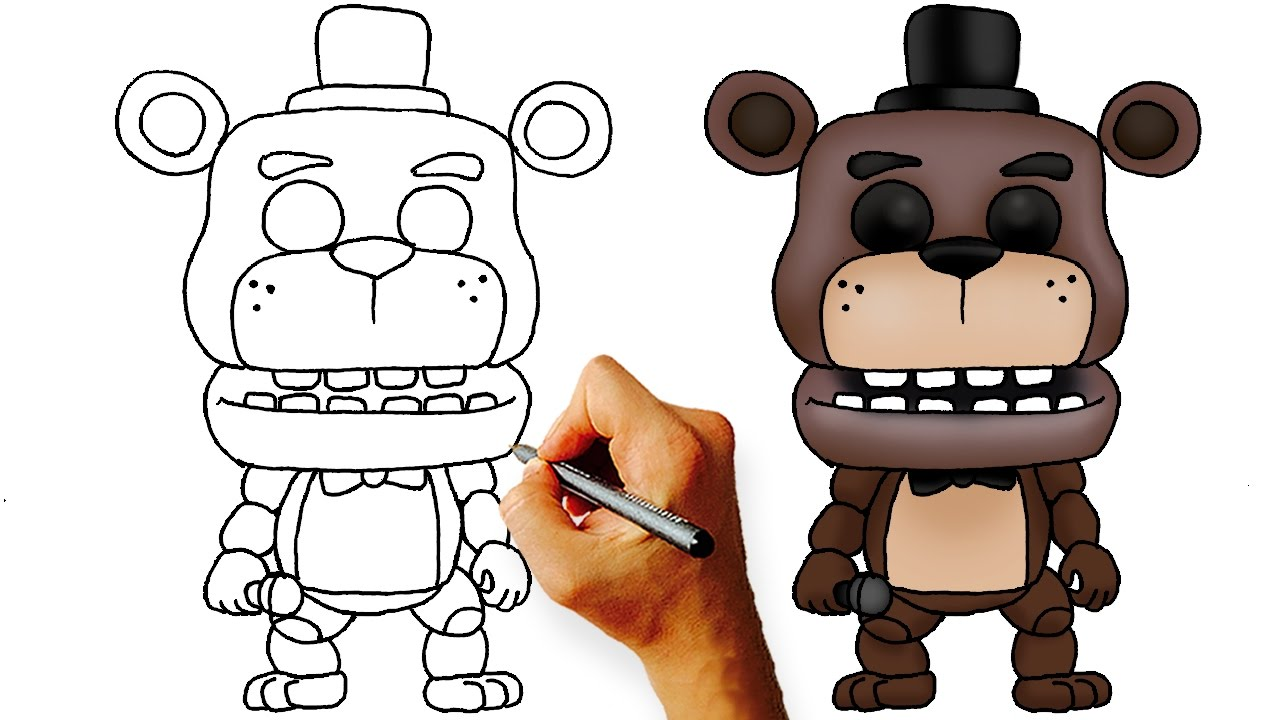How to draw fnaf freddy steps - How To Draw Chibi Freddy Step By Step Art Lesson For Kids