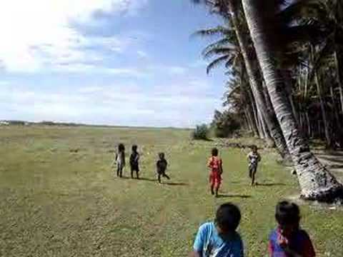 Airplane landing in Ailinglaplap, Marshall Islands
