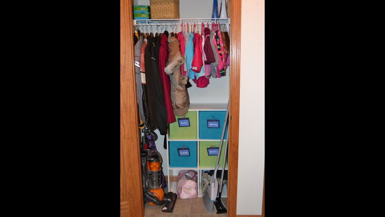 Small Coat Closet Organization for 2 children & 2 adults! - YouTube