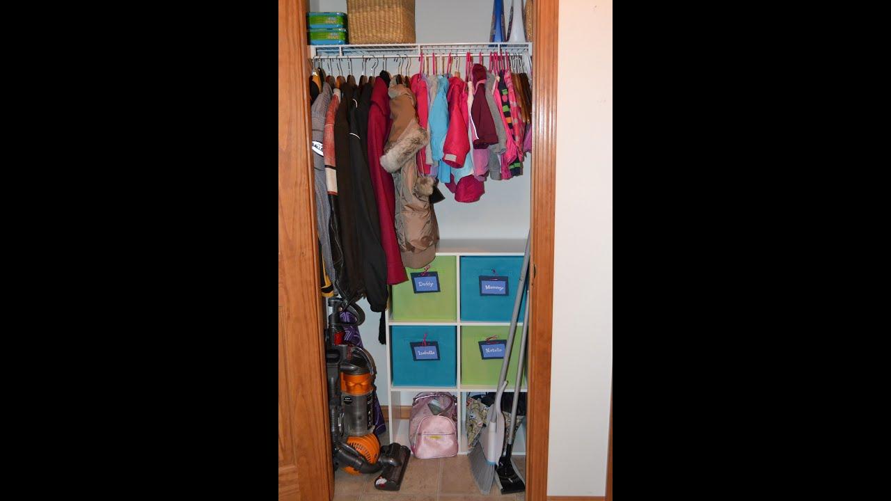 Small Coat Closet Organization for 2 children  2 adults  YouTube