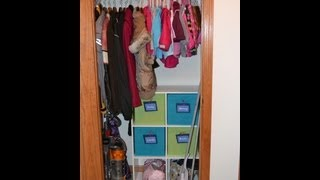 Small Coat Closet Organization For 2 Children & 2 Adults!
