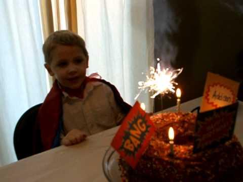 Addisons birthday cake and sparkler candlesAVI YouTube