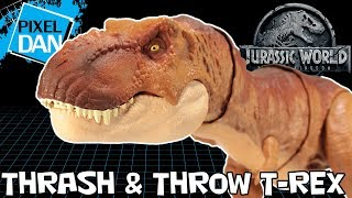Jurassic World Thrash & Throw Tyrannosaurus Rex T-Rex Dino Mattel Figure Video Review