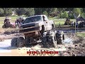 MUDBOGGER79 MOUNTS 8 TIRES WITH RATCHET STRAPS FOR THE BOUNTY HOLE CHALLENGE!!!