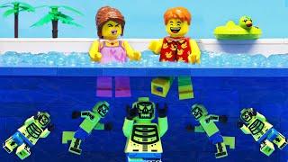 Escape The ZOMBIE Swimming Pool: Secret Underwater (Lego Stop Motion)