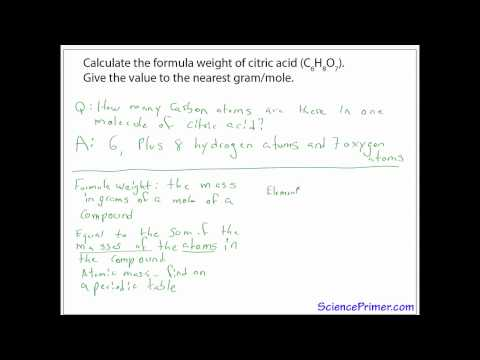 Example calculation of formula weight