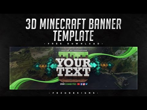 3D Minecraft Banner Template [YouTube & Twitter] - Free Download | FezoDesigns
