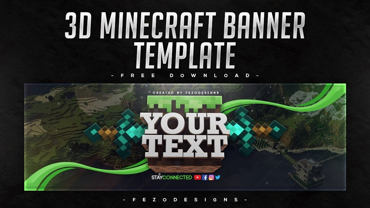 3D Minecraft Banner Template [YouTube & Twitter] - Free Download    FezoDesigns