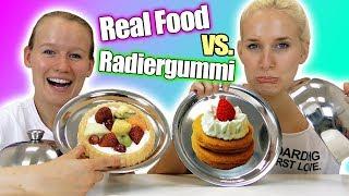 REAL FOOD vs RADIERGUMMI FOOD Challenge mit Kathi & Nina | Radiergummis essen? Spiel mit mir deutsch