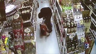 Violent liquor store robbery caught on camera
