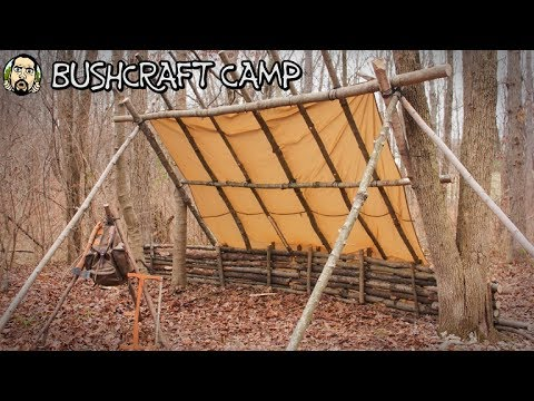 Making a Bushcraft Camp: Roof Framing (Part 3)