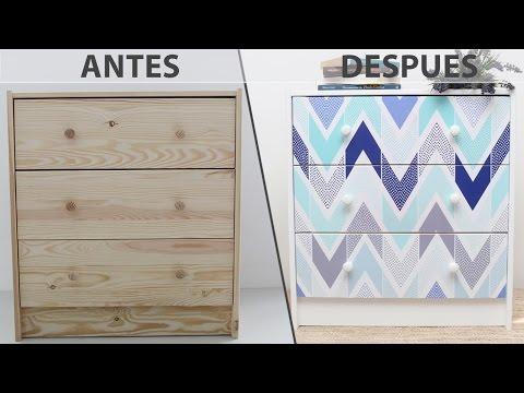 Diy decorar un mueble ikea con un vinilo youtube - Como decorar un mueble con papel pintado ...