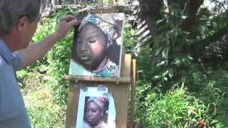 Speed painting of a portrait of Nina Simone.