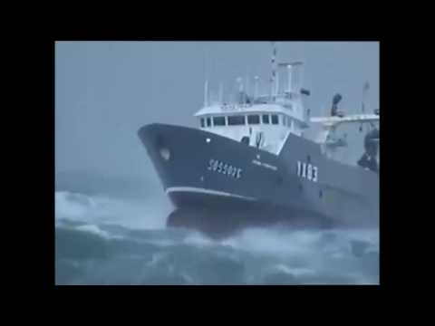 Ship sailing in rough sea