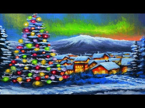 Acrylic winter snow landscape painting with Christmas tree and city during sunset night with aurora