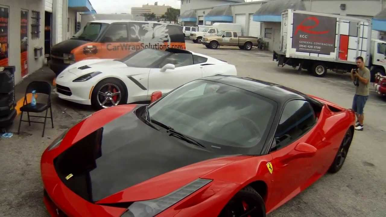 Miami Ferrari 458 Italia Glossy Black Hood Panoramic Roof