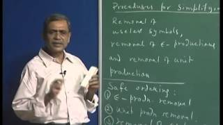 Mod-01 Lec-25 Elimination of unit productions. Converting a cfg into Chomsky normal form.