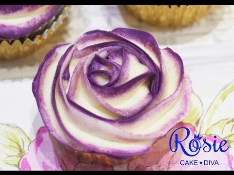 Two-Tone Buttercream Rose Cupcake Tutorial