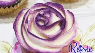 Two-Tone Buttercream Rose Cupcake Tutorial