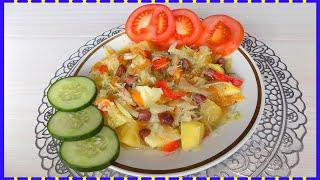Овощное рагу с картошкой и капустой на курином бульоне