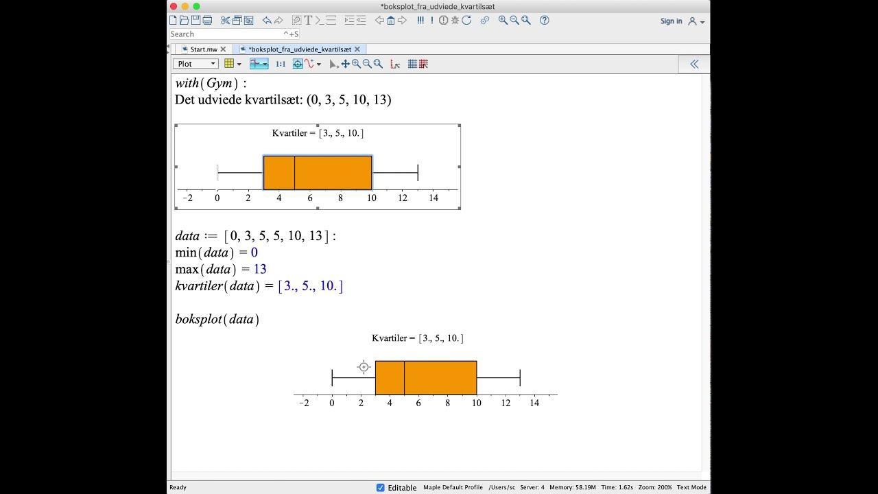 Boksplot fra udvidede kvartilsæt [Statistik, Maple]