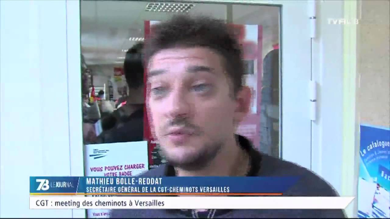 Social : mouvement social de la CGT-cheminot à Versailles