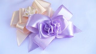 Make Simple Bow with Ribbon / Бант из ленты / Simple Ribbon Bow Tutorial
