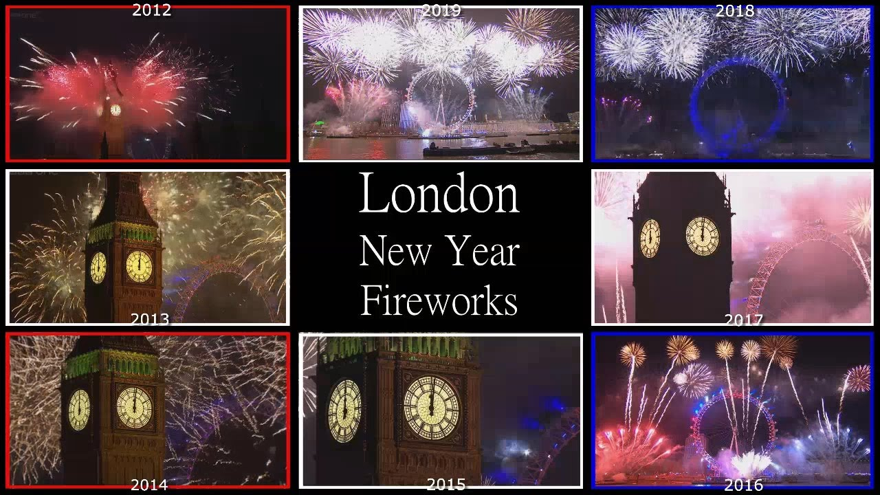 Happy New Year ! 2019-2012 LONDON Fireworks Compilation / MULTI REACT-A-THON