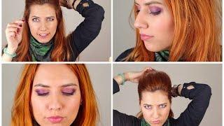 Fialkové líčení + jednoduchý účes-inspirované Scarlett Johansson! /Purple make-up tutorial