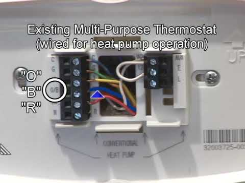 hqdefault heat pump wiring & mechanical settings youtube honeywell heat pump thermostat wiring diagram at n-0.co