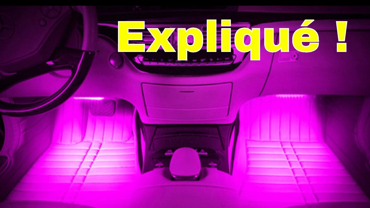 LED Voiture interieur 4 en 1 RGB avec Atmosphere de Couleur ...
