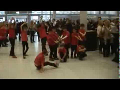 flash mob performance at the Rai Exhibition Center (Amsterdam).