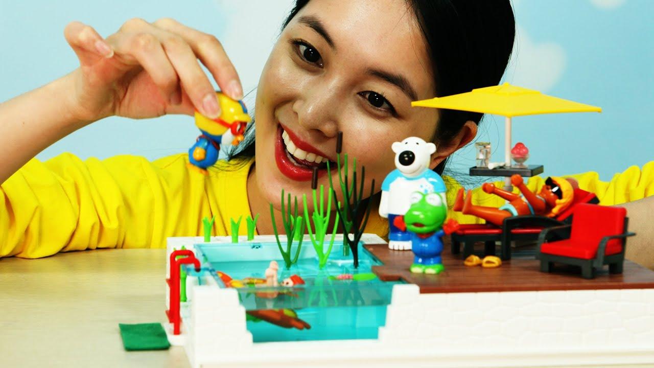 유라 장난감 Toy 플레이모빌 테라스와 수영장 플레이세트 물놀이 여름 풀장 뽀로로 Playmobil