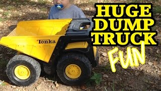 BIG Toy Tonka DUMP TRUCK Action! This Thing Is HUGE!