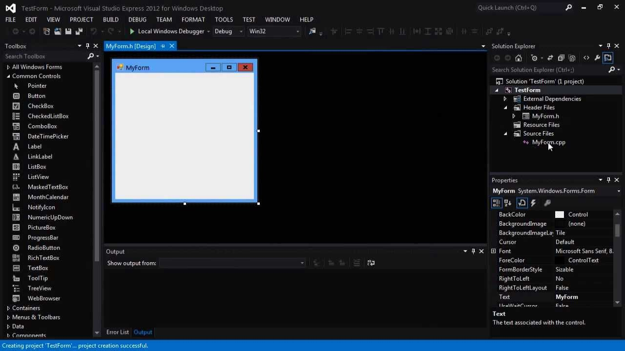 C++|Visual studio 2012] How to create a Windows Form Project - YouTube