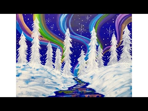 Beginners learn to paint Acrylic | Aurora Borealis Landscape | Winter Wonderland