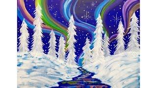 Beginners learn to paint Acrylic | Aurora Borealis Landscape | Winter Wonderland