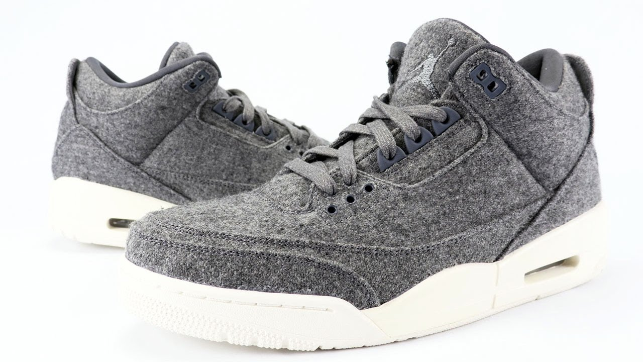 1932d66286340d Air Jordan 3 Wool Dark Grey Review + On Feet - YouTube