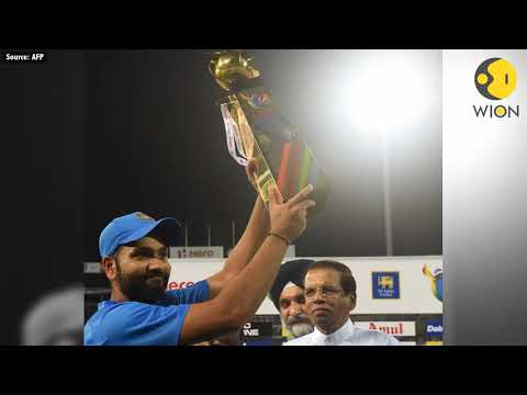 Rohit Sharma waves Sri Lankan flag during victory lap