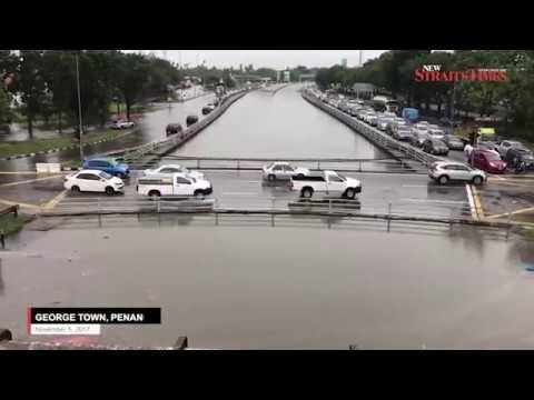 Flooded Penang city centre deserted