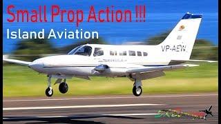 (3) Small Props Arrival - FedEx Caravan, Trans Anguilla Islander, Cessna 402  @ St. Kitts Airport