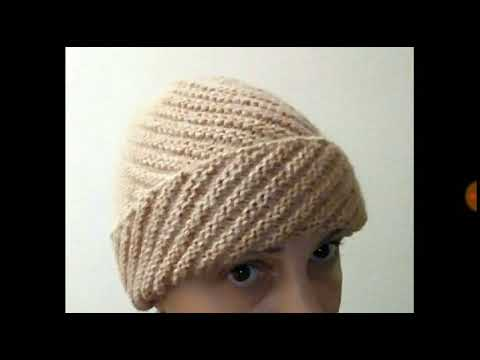Вязание спицами шапка по диагонали описание