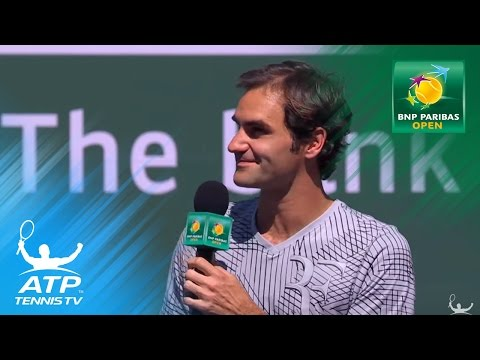 Roger Federer interview and funny song | Indian Wells 2017 Day 9