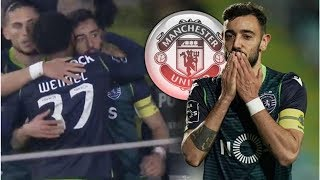 Man Utd transfer target Bruno Fernandes looks emotional after scoring late Sporting goal- transfe...