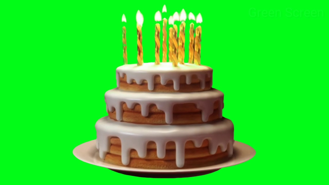 Birthday Cake With Candle On Green Screen