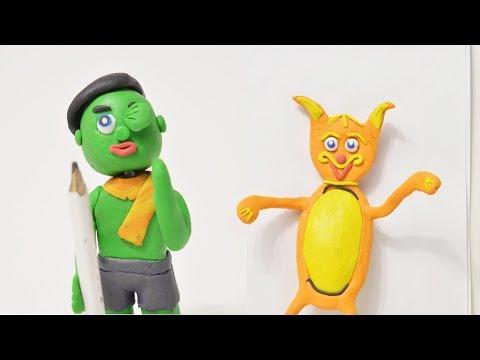 Baby Hulk Painting Cat Live Play Doh Cartoon Animation Kids Superhero Stop Motion